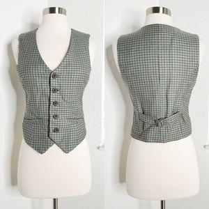 •LAMB• Houndstooth Plaid Wool Vest 4.